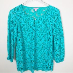 Lilly Pulitzer lace light blue top
